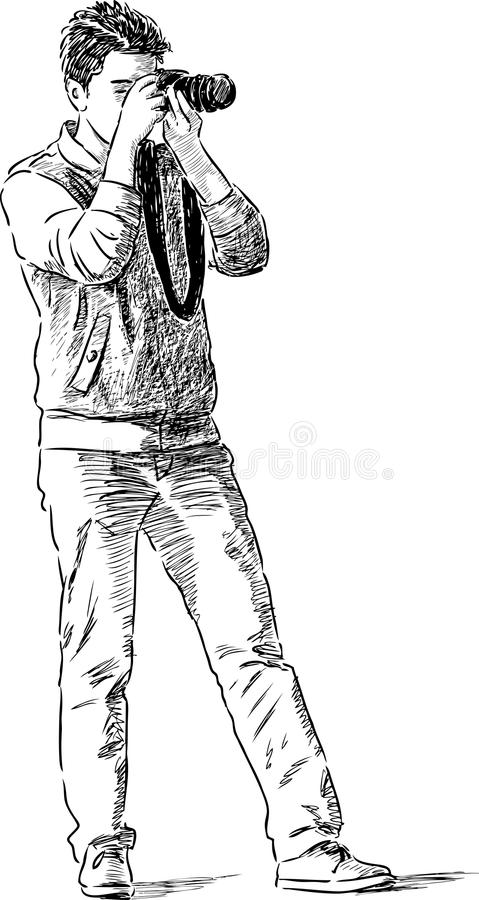 Молодой человек фотографирует иллюстрация вектора