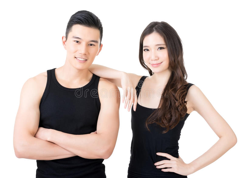 Молодые азиатские пары спорта стоковое фото rf