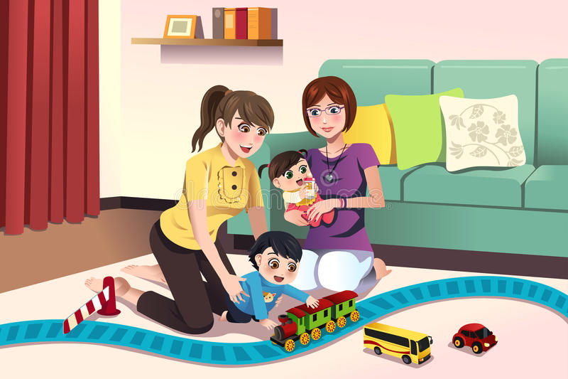 Download Молодые лесбосские родители играя с их детьми Иллюстрация вектора - иллюстрации насчитывающей девушка, шарж: 41653739