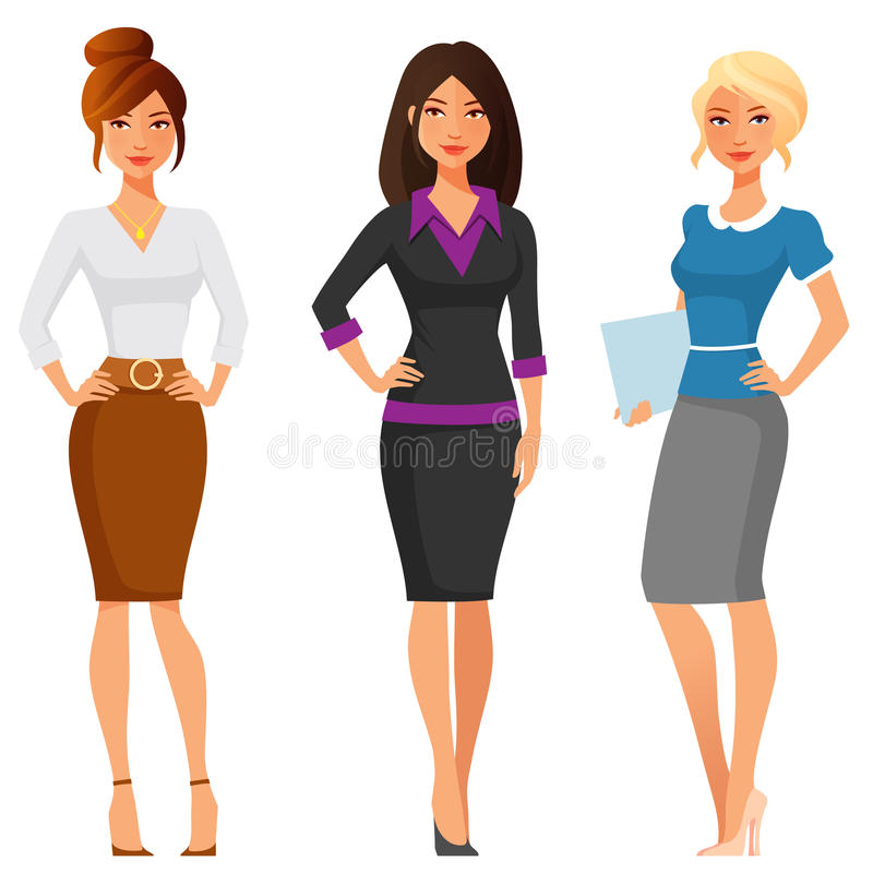 Молодые женщины в элегантных одеждах офиса бесплатная иллюстрация
