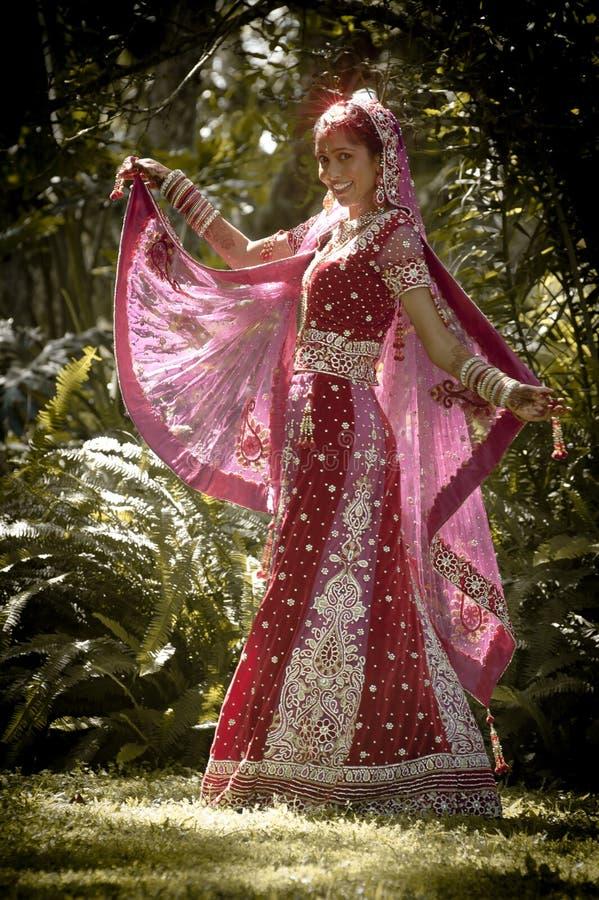Молодые красивые индийские индусские танцы невесты под деревом стоковое изображение rf