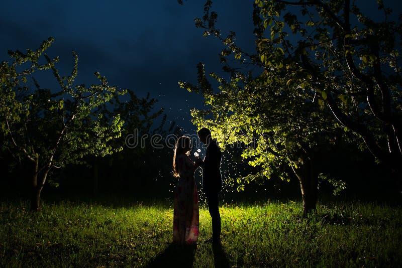Молодые пары в яблоневом саде стоковое изображение rf
