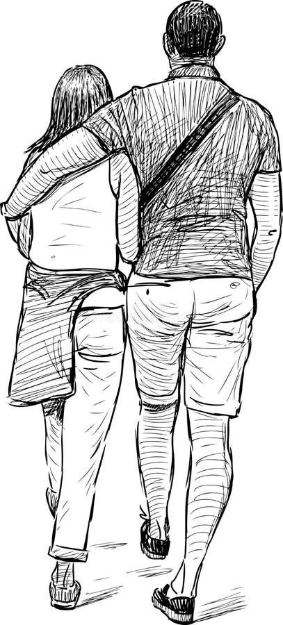 Молодые пары на дате иллюстрация штока