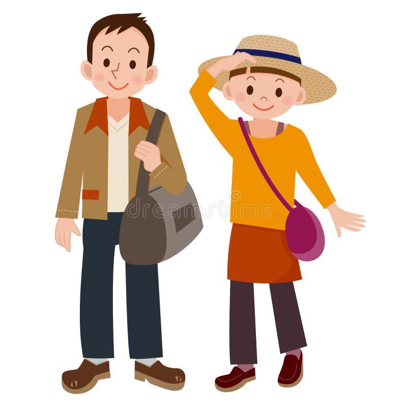 Молодые пары пока путешествующ иллюстрация вектора