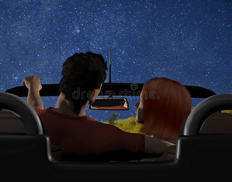 Молодые пары припаркованные в автомобиле с откидным верхом бесплатная иллюстрация