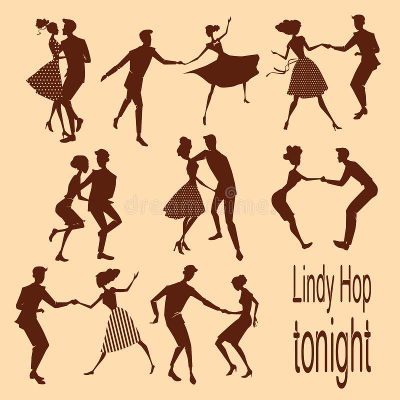 Молодые пары танцуя lindy хмель иллюстрация вектора