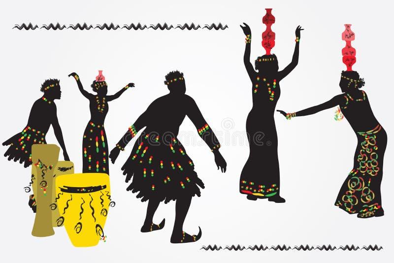 Молодые человеки и женщины танцуя и играя барабанчики бесплатная иллюстрация