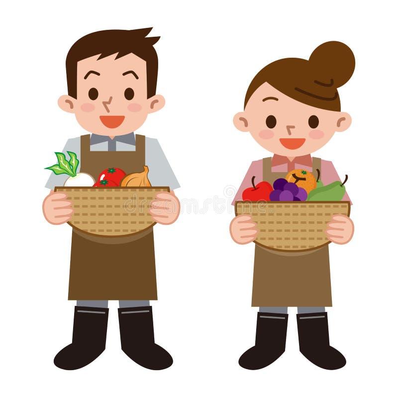 Молодые человеки и фермеры женщин иллюстрация штока