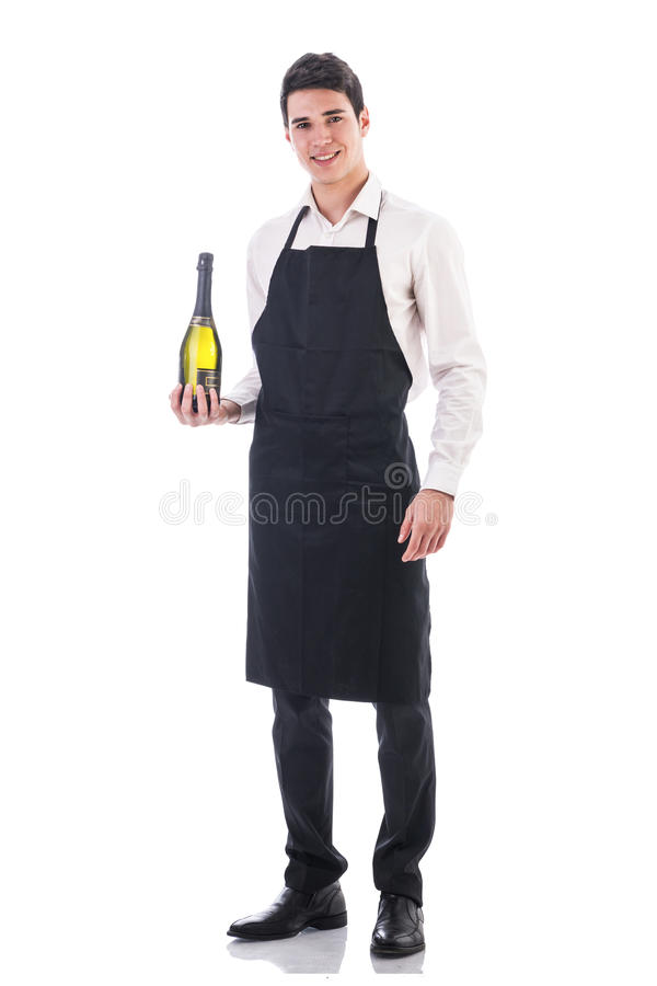 Молодые шеф-повар или кельнер держа зеленое шампанское стоковые изображения rf