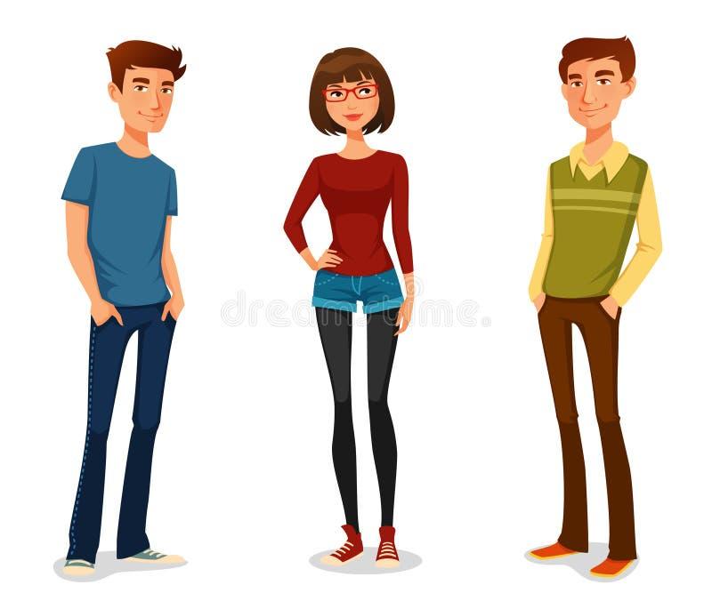 Молодые люди в вскользь одеждах иллюстрация вектора
