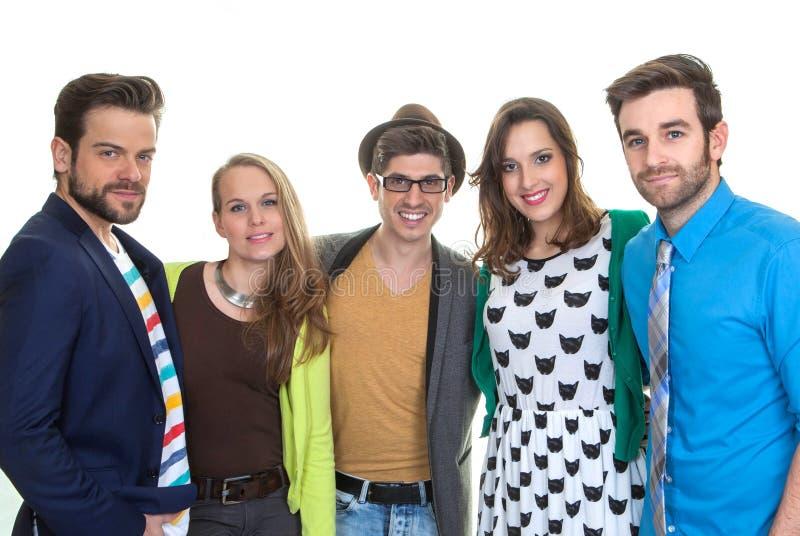 Молодые люди группы счастливое стоковое фото rf