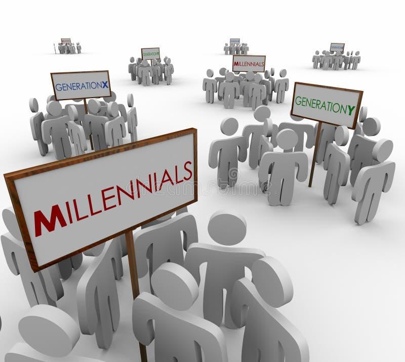 Молодые люди групп демографического Marke поколения x y Millennials иллюстрация вектора