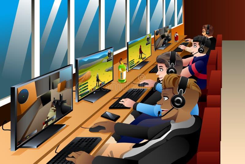 Молодые люди играя игры на интернет-кафе иллюстрация вектора
