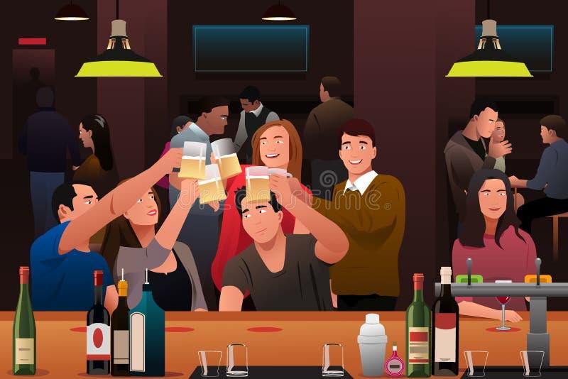 Молодые люди имея потеху в баре иллюстрация штока