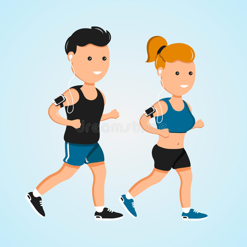 Молодые люди и женщины фитнеса спорта бежать характеры вектора плоские бесплатная иллюстрация