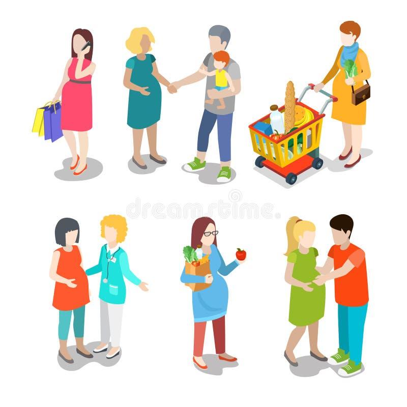 Молодые люди пренатальной семьи беременности городское paren бесплатная иллюстрация