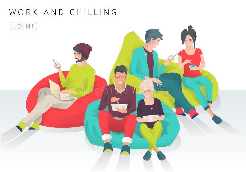 Молодые люди сидит на сумке фасоли с различными устройствами иллюстрация штока