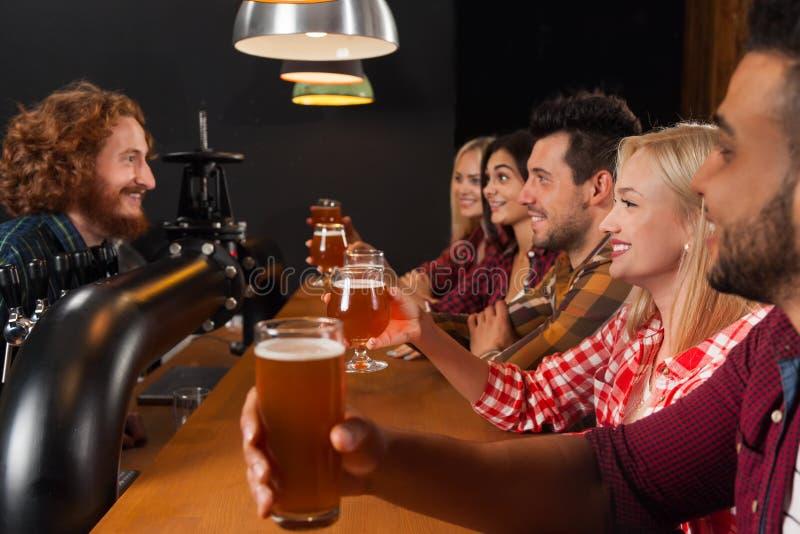 Молодые люди собирает в бар, стекла пива владением, друзей сидя на пабе деревянной стойки, здравице стоковые изображения