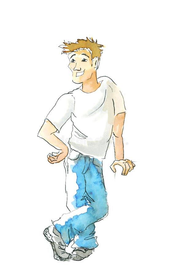 Молодым акварель покрашенная парнем иллюстрация вектора