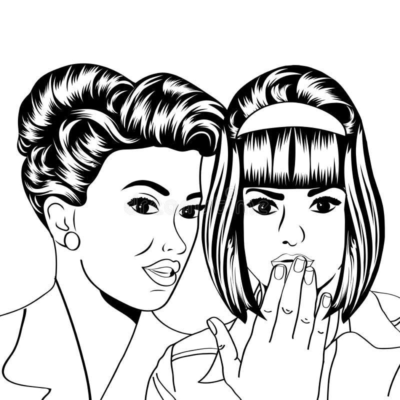 2 молодых подруги говоря, шуточная иллюстрация искусства иллюстрация вектора