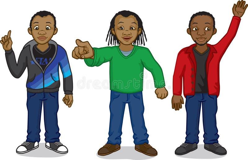 Черные люди шаржа иллюстрация штока