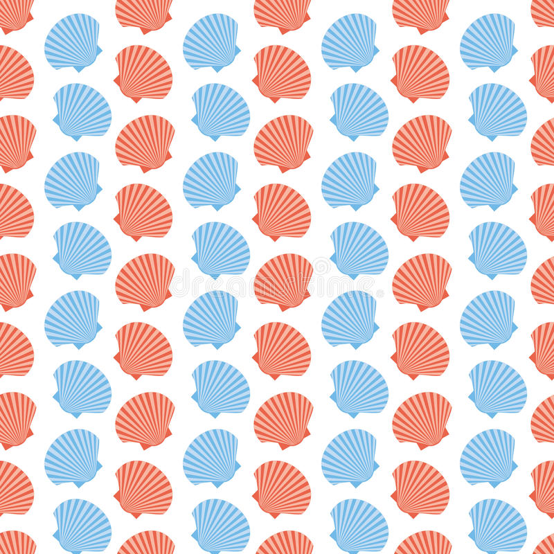 Моллюск Scallops безшовная текстура иллюстрация штока