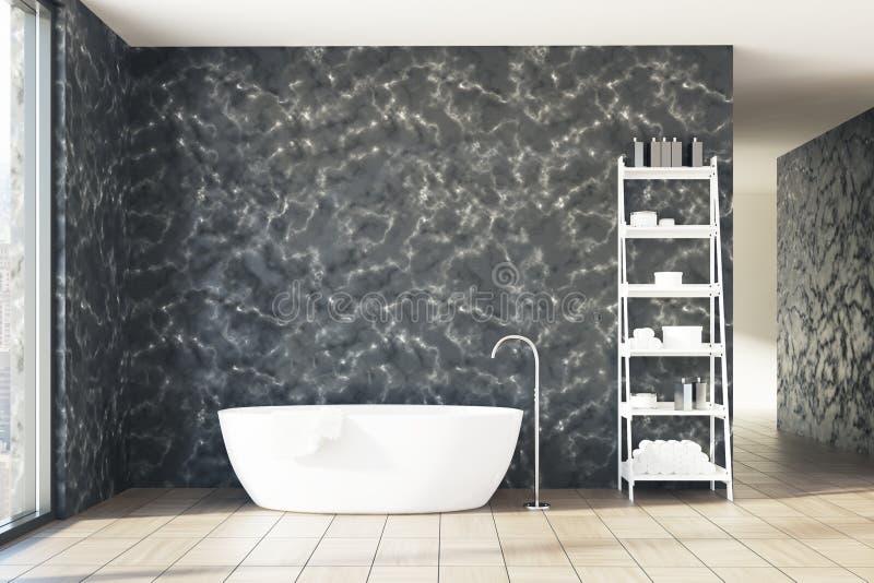 Мраморная ванная комната, белый ушат, полки бесплатная иллюстрация