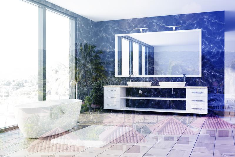 Мраморная ванная комната, белый ушат, тонизированная раковина бесплатная иллюстрация
