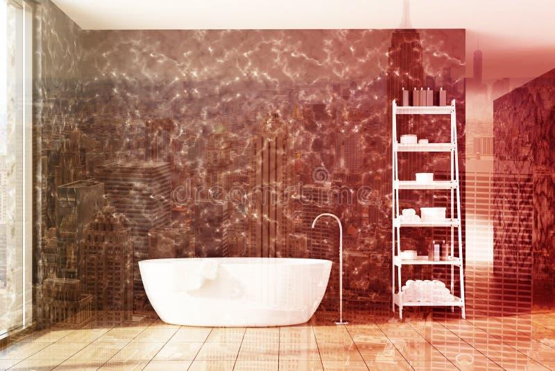 Мраморная ванная комната, белый ушат, shelves двойник иллюстрация штока