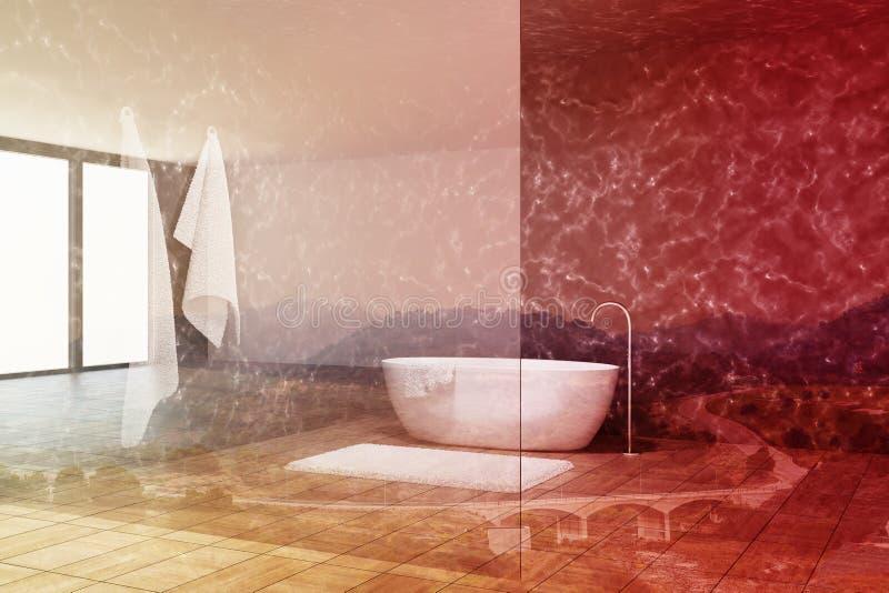 Мраморная ванная комната внутренняя, стеклянная стена, тонизированный ушат иллюстрация вектора