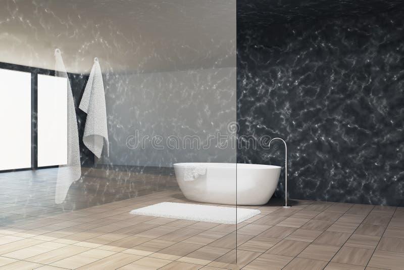 Мраморная ванная комната внутренняя, стеклянная стена, ушат бесплатная иллюстрация