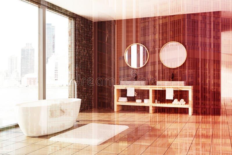 Мраморная и деревянная ванная комната, белый ушат, тонизированная раковина иллюстрация вектора