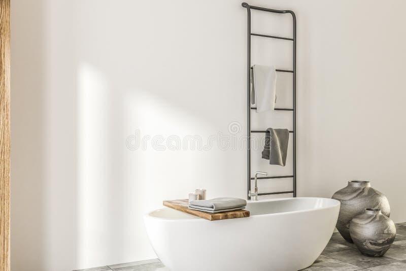 Мраморная и деревянная ванная комната, белый ушат иллюстрация штока