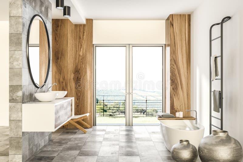 Мраморная и деревянная ванная комната внутренняя, белый ушат иллюстрация штока