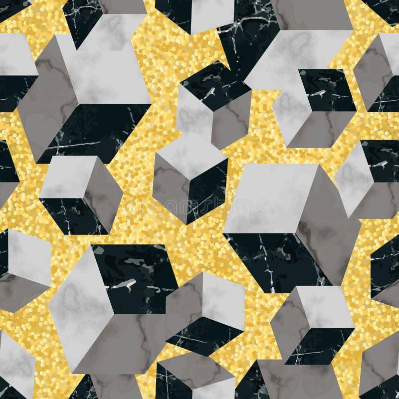 Мраморная роскошная геометрическая безшовная картина иллюстрация вектора