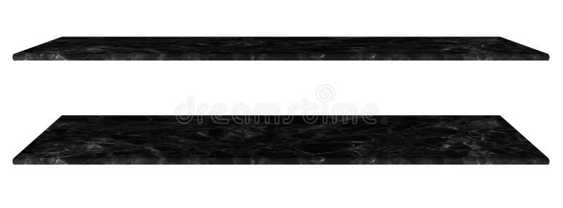 Мраморная таблица, встречная верхняя черная поверхность, каменная плита для продуктов дисплея изолированных на белой предпосылке  стоковое изображение rf