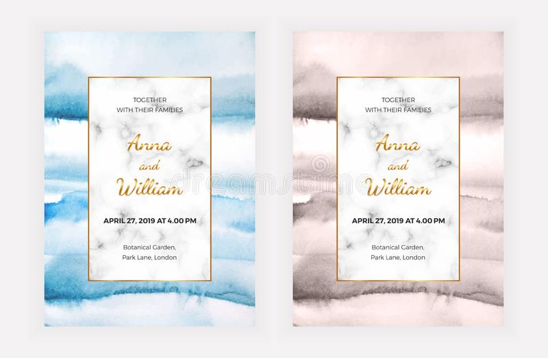 Мраморные карты приглашения свадьбы с текстурой акварели Шаблон для торжества, знамя современного дизайна, сохраняет дату, плакат иллюстрация вектора