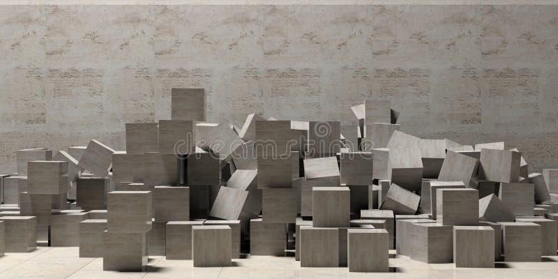 Мраморные кубы на предпосылке каменной стены и пола, космосе экземпляра иллюстрация 3d иллюстрация вектора