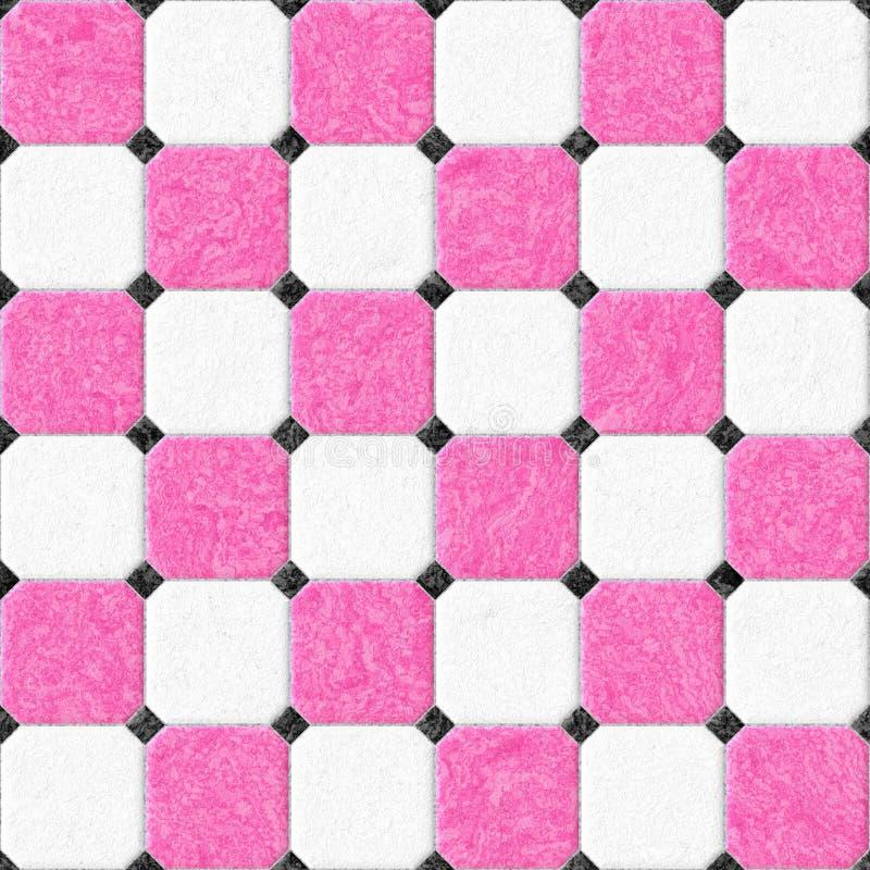 Мраморные плитки пола с черными rhombs и картина серого зазора безшовная текстурируют предпосылку - цвет горячего пинка и белизны иллюстрация вектора