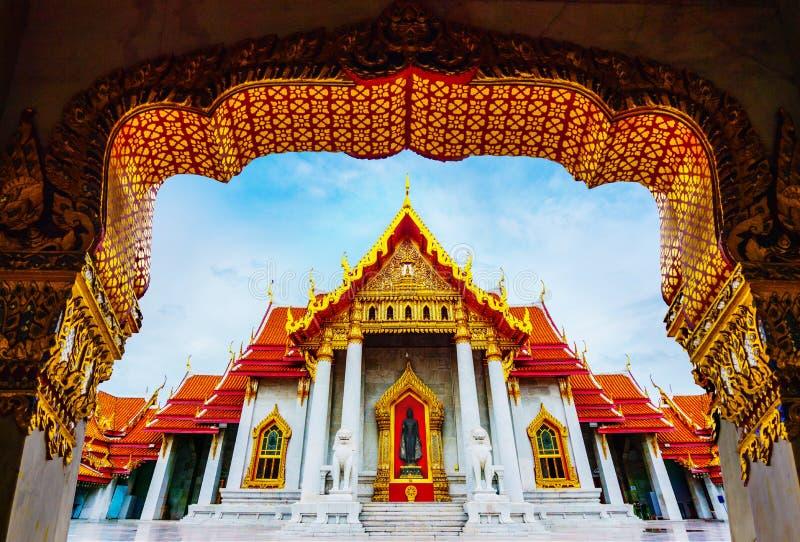 Мраморный висок Бангкока Wat Benchamabophit стоковая фотография
