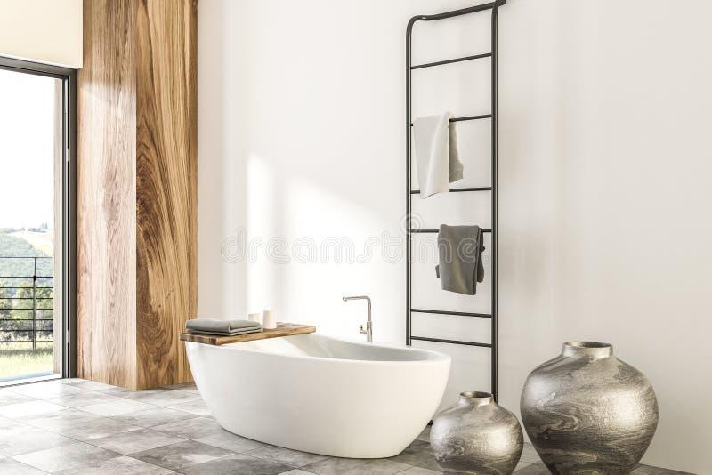 Мраморный и деревянный угол ванной комнаты, белый ушат иллюстрация вектора