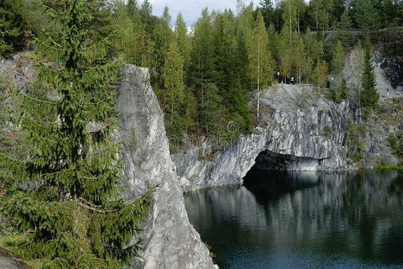 Мраморный каньон, Karelia, Россия стоковые изображения