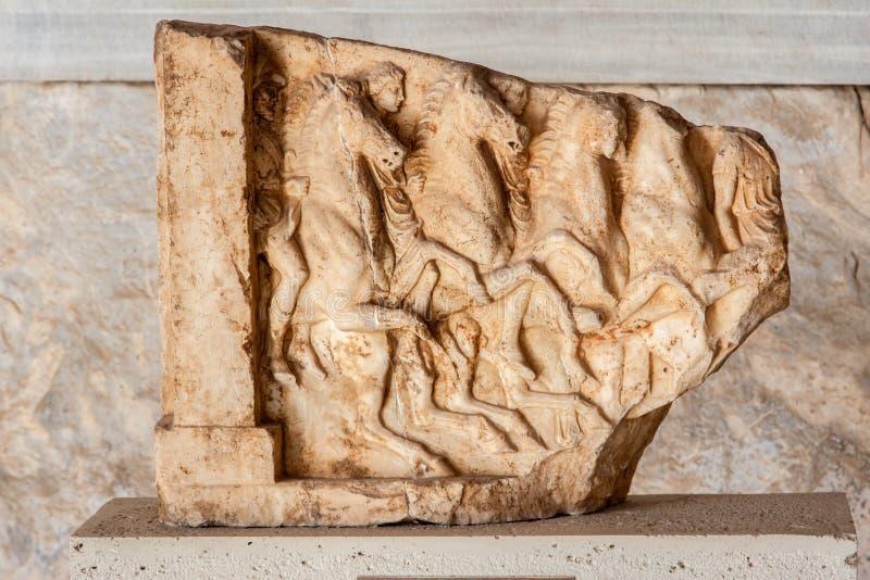 Мраморный музей Афиныы Agora сброса Bas Стоковые Фото