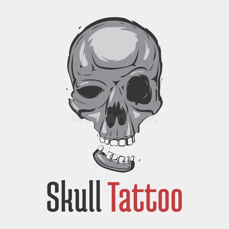 Мрачная татуировка черепа с отделенной усмехаясь челюстью Пугающая и опасная, страшная и terrifying голова скелета для эмблемы иллюстрация вектора