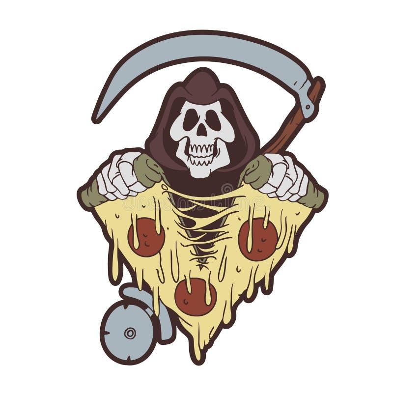 Мрачный жнец срывая пиццу иллюстрация штока