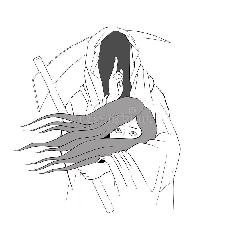 Мрачный жнец, человеческий череп нося клобук, изолированный на цвете Backg бесплатная иллюстрация