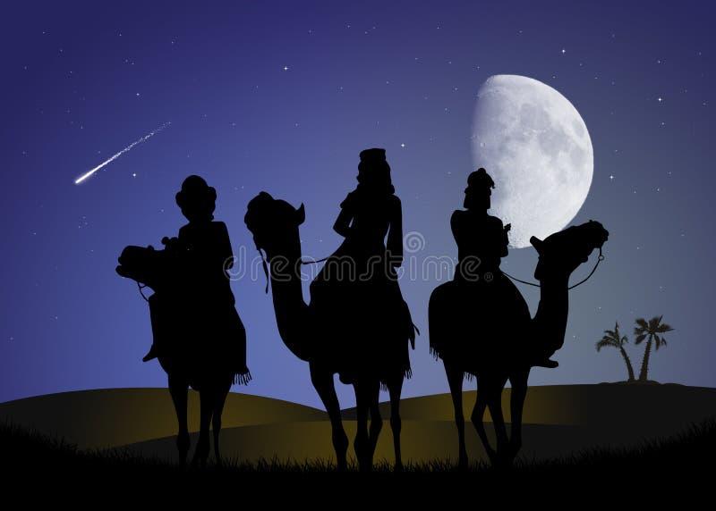 3 мудрецы в лунном свете бесплатная иллюстрация