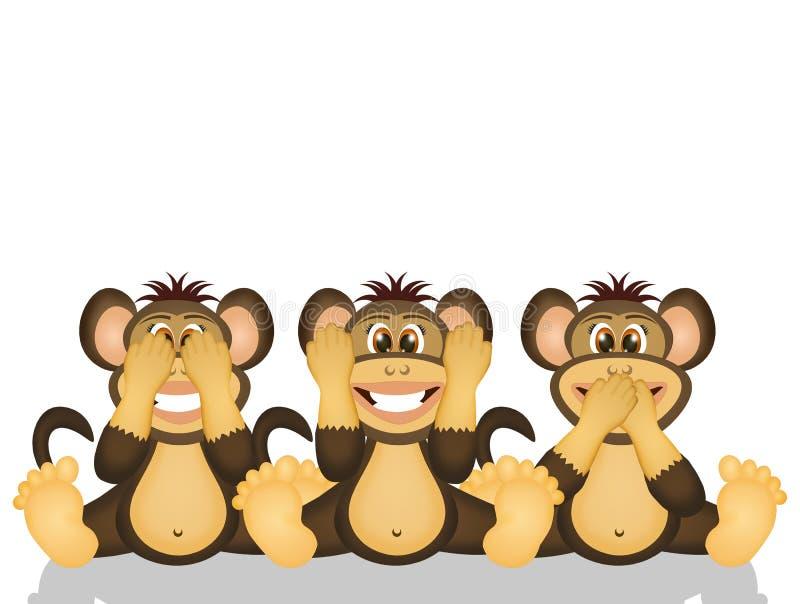 3 мудрых обезьяны иллюстрация штока
