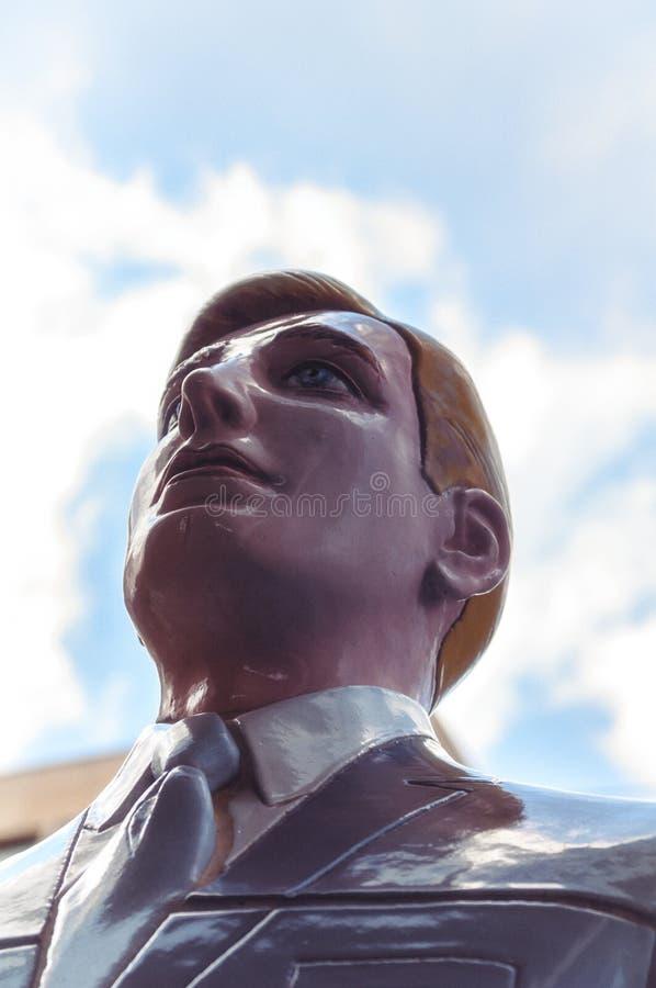 Мужская голова кукол помещенная снаружи стоковые изображения
