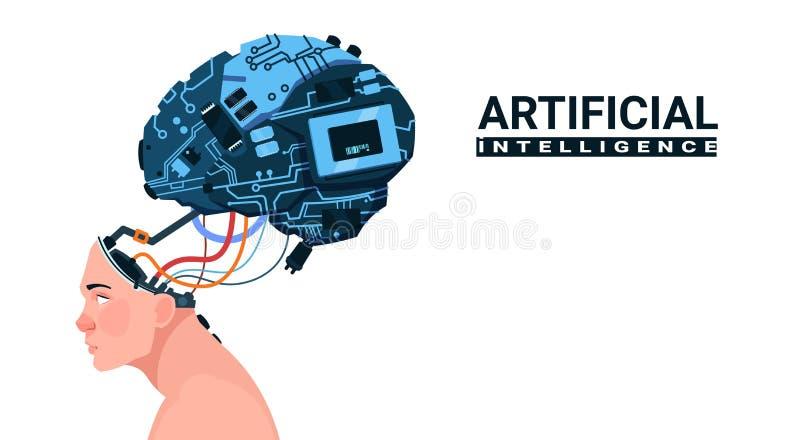 Мужская голова при современный мозг киборга изолированный на белой концепции искусственного интеллекта предпосылки иллюстрация вектора